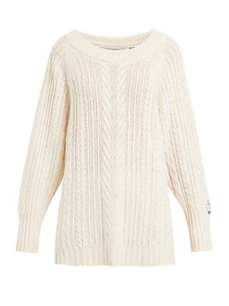 Queene and Belle Queene And Belle - Oversized Boat Neck Cable Knit Cashmere Sweater - Womens - Cream