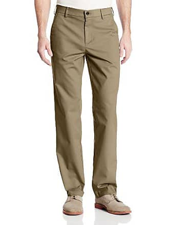 Haggar Mens Performance Cotton Slack Straight Fit Plain Front Pant,Khaki,36x29