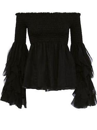 Caroline Constas Caroline Constas Woman Alessandra Off-the-shoulder Shirred Silk-chiffon Blouse Black Size XS