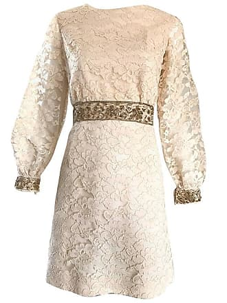 6f744c043b 1stdibs 1960s Ivory And Gold Lace + Sequins Mod Vintage A - Line 60s Babydoll  Dress