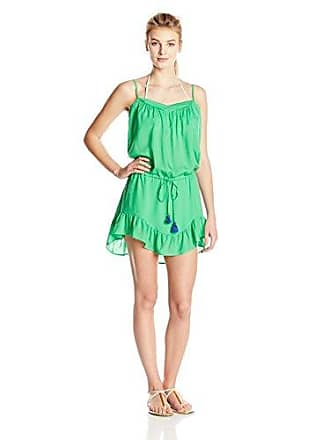 c62be2c4f9aa Vix Womens Solid Green Cecily Short Cover Up Dress, X-Small