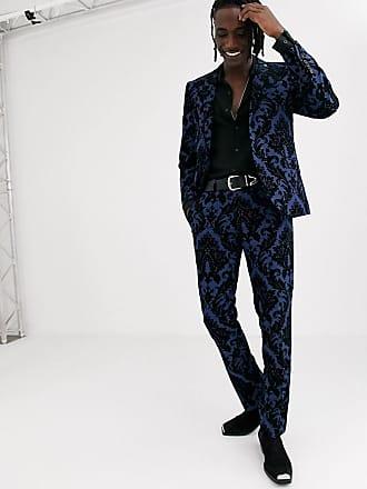 Twisted Tailor Pantaloni da abito super skinny con floccatura barocca blu