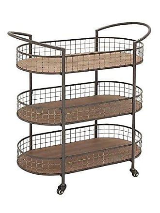 UMA Enterprises Inc. Deco 79 3-Tier Metal Wood Cart, 35 by 37-Inch