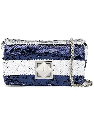 Sonia Rykiel striped sequinned crossbody bag - Azul