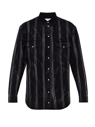 Faith Connexion Striped Denim Shirt - Mens - Black