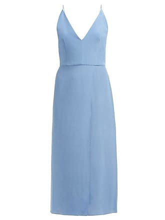 Raey Fitted Silk Wrap Dress - Womens - Blue