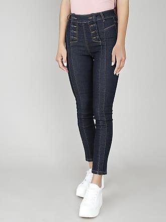 Sawary Calça Jeans Feminina Skinny Sawary com Recortes e Botões Azul Escuro