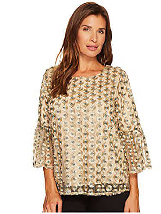 Calvin Klein Womens Embroidered Net Bell Sleeve Top, Gold Combo, XS