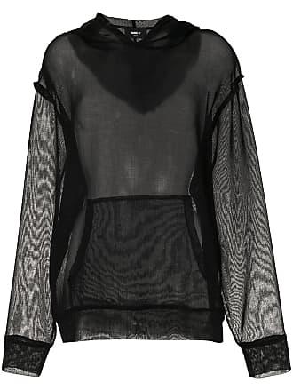 Yang Li Blusa de moletom com recorte translúcido - 99Black