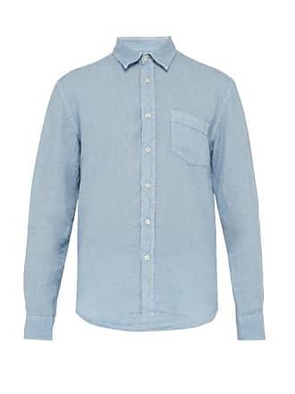 120% Lino Long Sleeve Linen Shirt - Mens - Mid Blue