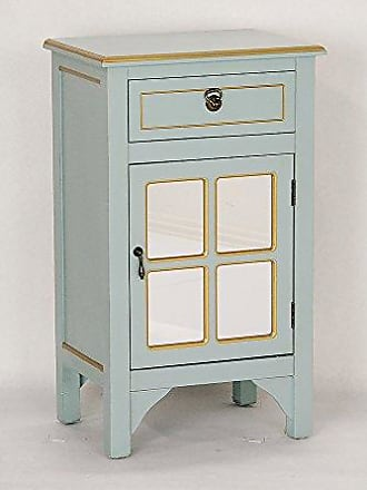 Heather Ann Creations Single Door/Drawer Wooden Cabinet with 4 Square Mirrored Inserts, 30 x 18, Gold