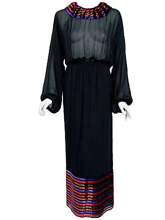 364015849609d7 Lanvin 1978 Lanvin Couture Black Sheer Silk Chiffon   Stripe Velvet  Billow-sleeve Gown