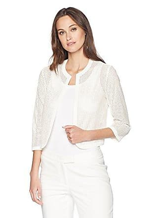 Anne Klein Womens Laser Cut Faux Leather Cardi, White, 16