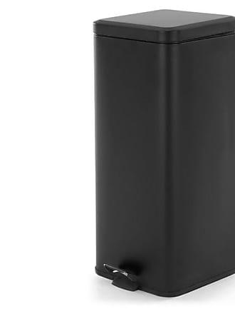 MADE.COM Dale, poubelle carrée à pédale en acier inoxydable 30L, noir mat