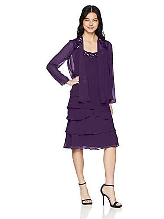 S.L. Fashions Womens Embellished Tiered Sequin Jacket Dress (Petite and Regular), Eggplant, 14P
