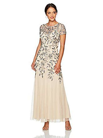 Adrianna Papell Womens Petite Floral Beaded Godet Gown, Taupe/Pink, 10P