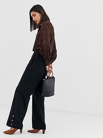 Vero Moda wide leg button detail pants - Black