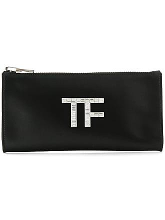 Tom Ford Bolsa clutch de couro e seda - Preto