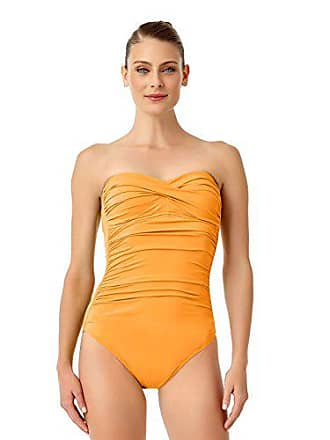 586b0b2e39656 Anne Cole Womens Twist Front Shirred One Piece Swimsuit, Orange, 14