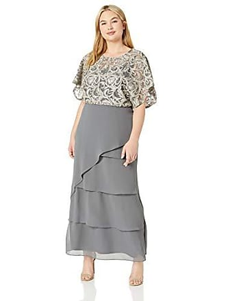 Le Bos Womens Sequin Embroidered Long Dress, Pearl Grey 12
