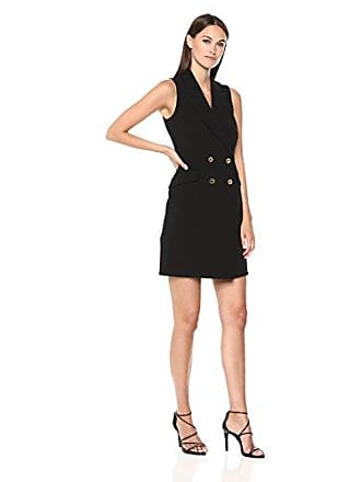 Calvin Klein Womens Sleeveless Collared Blazer Dress, Black, 4