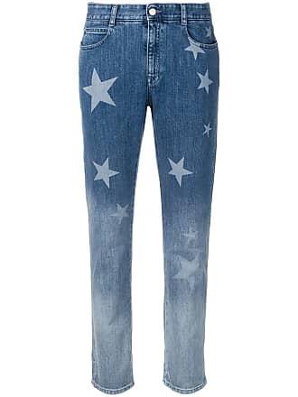 Stella McCartney Calça jeans boyfriend com estampa de estrelas - Azul