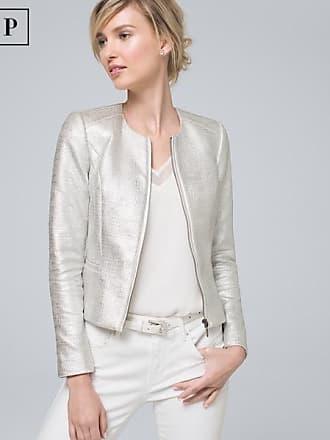 White House Black Market Womens Petite Metallic-Tweed Jacket by White House Black Market, Silver, Size 14