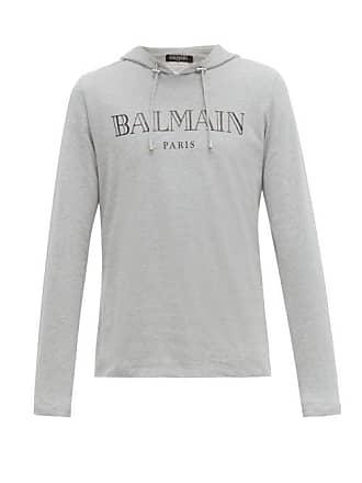 899a8e52 Balmain Logo Print Brushed Cotton Jersey Hooded Sweatshirt - Mens - Grey