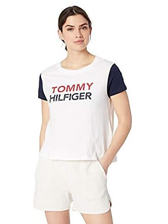 56ff1bd1 Tommy Hilfiger Womens Short Sleeve T-Shirt Pajama Top Pj,Bright White with  Navy