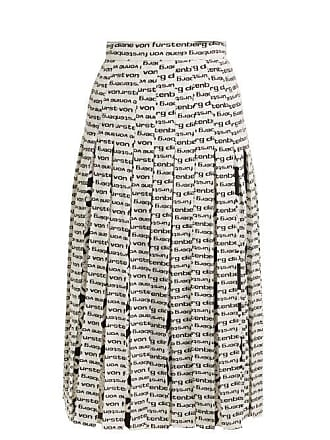 17123abcc8 Diane Von Fürstenberg Gardena Logo Print Pleated Silk Skirt - Womens -  Black White