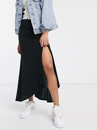 Asos ribbed fluted maxi skirt with split-Black
