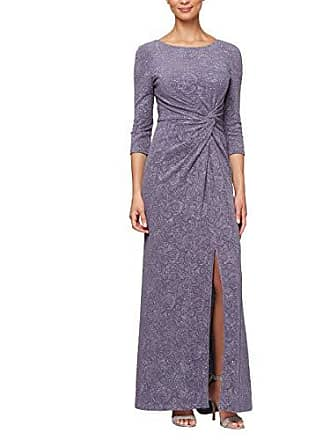 Alex Evenings Womens Long Dress with Knot Front Detail (Petite and Regular), Heather, 10