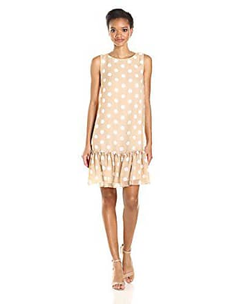 Tommy Hilfiger Womens Polka Dot Chiffon Ruffled Hem Dress, Sand/Ivory, 8