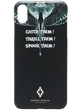 Marcelo Burlon Capa para iPhone com estampa de asas e slogan - Preto