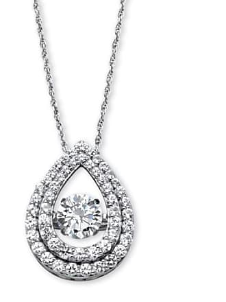 PalmBeach Jewelry 1.75 TCW Cubic Zirconia CZ in Motion Pear-Shaped Halo Pendant in Platinum over Sterling Silver 18