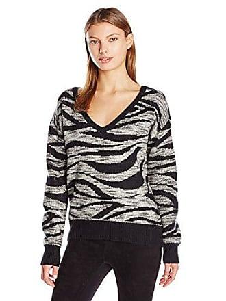 Calvin Klein Jeans Womens Animal Print Jacquard Sweater, Black/White, Large