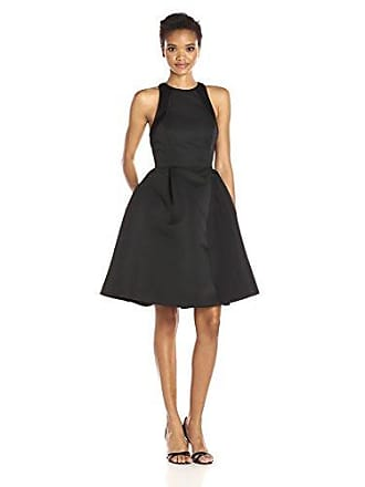 Halston Heritage Womens Sleeveless Round Neck Satin Faille Dress with Back Cut Out, Black, 14