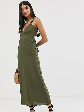 16fea7b7f0 Asos Tall ASOS DESIGN Tall knot front linen maxi dress with tie back