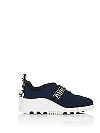 d6642be00dc Miu Miu Womens Logo-Strap Tech-Knit Platform Sneakers - Bleu Size 10.5