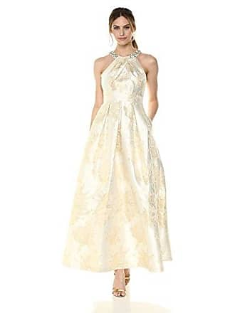 Eliza J Womens Ballgown with Beaded Detail at Neckline, Ivory/Gold, 8