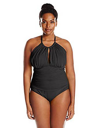 81d859bb0a637 Kenneth Cole Reaction Womens Plus-Size Ruffle Shuffle Solid High-Neck  Swimsuit