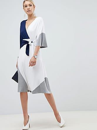 e9e40ee5ccd Asos color block knot front midi dress - Multi