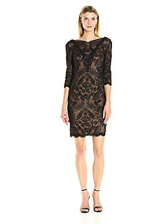 b32adba9 Tadashi Shoji Womens 3/4 Sleeve Embroidered Lace Dress, Black/Nude, 8