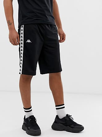 Kappa Authentic Snapswell shorts with logo taping and poppers in black - Black