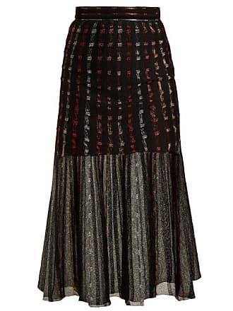 369452bc2 Alexander McQueen Alexander Mcqueen - Metallic Knit Pleated Midi Skirt -  Womens - Black Multi