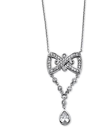 PalmBeach Jewelry 1.46 TCW Pear Drop Cubic Zirconia Vintage-Style Bow Tie Necklace Platinum-Plated