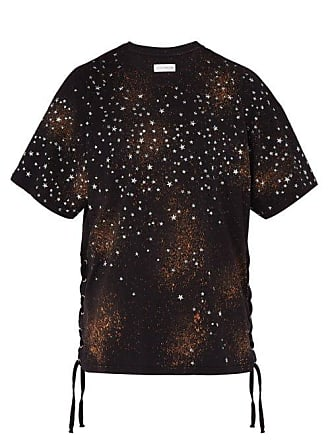 Faith Connexion Oversized Star Print Lace Up Cotton T Shirt - Mens - Black