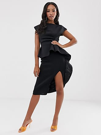 Asos peplum pencil midi dress with tuck detail - Black