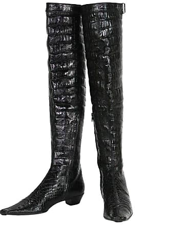 47287a98a1e Gucci Tom Ford For Gucci F w 1997 Crocodile Embossed Patent Leather Over Knee  Boots