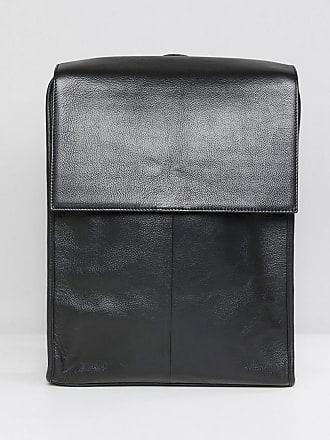 283008506a Asos Sac à dos en cuir avec rabat sur le dessus - Noir - Noir